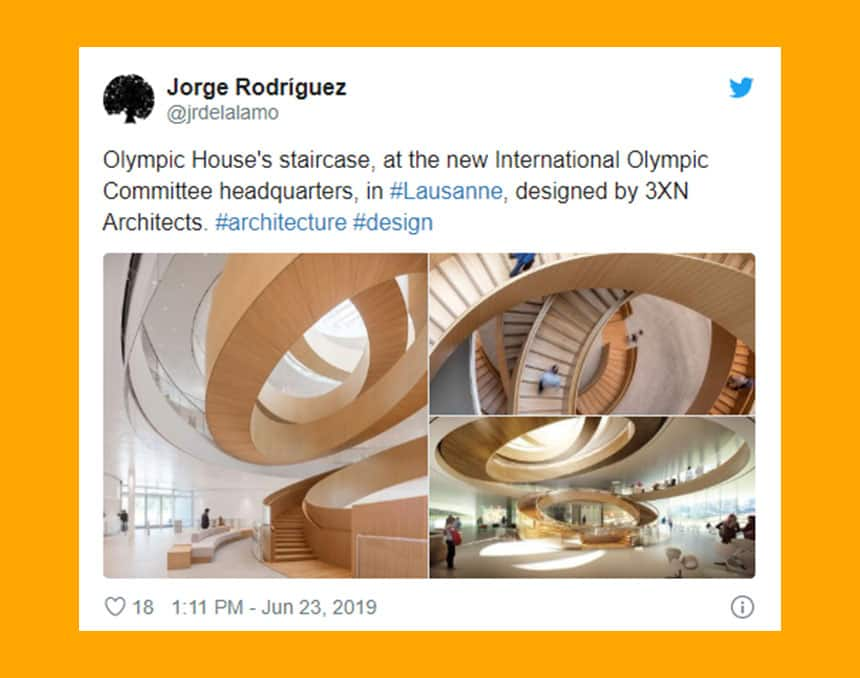 Twitter post via Jorge Rodriguez (@jrdelalao) tweet reads: Olympic House's staircase, at the new international Olympic committee headquarters in Lausanne designed by 3XN Architects. Below text are three images of the staircases which are made of wood and spiral and intertwine in a design that from below and above looks like rings.