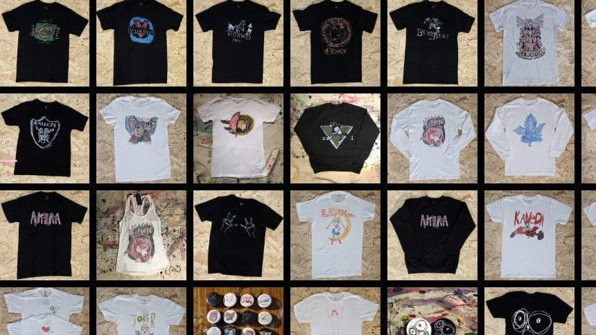 Pictured here are Leeloodles T-shirts, tank tops and long-sleeved shirts.