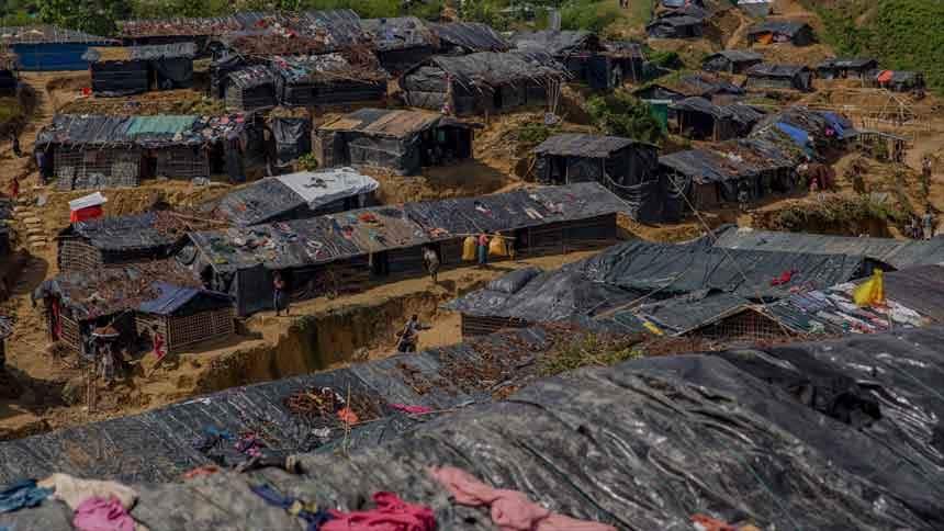 Dozens of make-shift shacks.