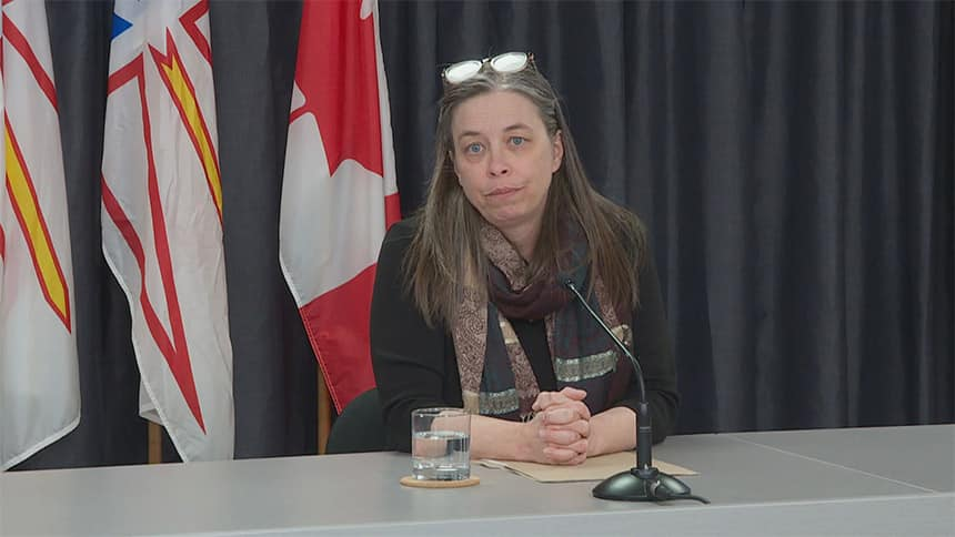 Dr. Janice Fitzgerald, Newfoundand and Labrador's chief medical officer of health, at a press conference.