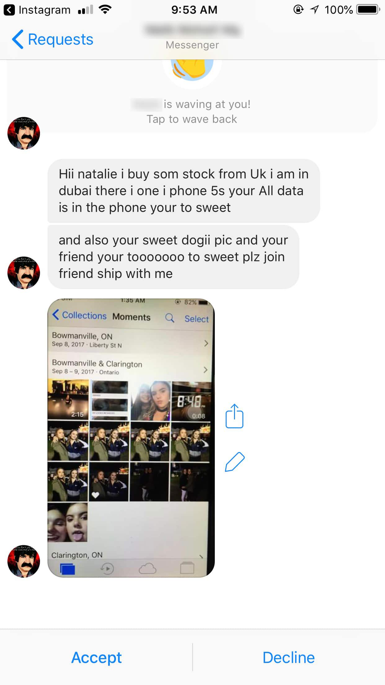 A screenshot of Halls' Facebook Messenger with messages from a stranger