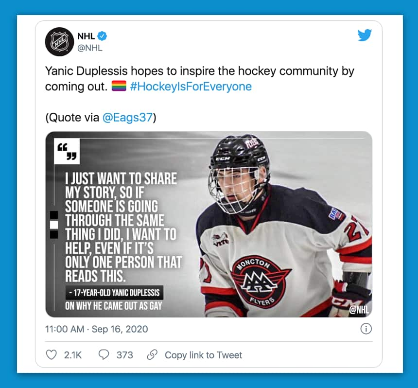 Tweet from NHL reads: Yanic Duplessis hopes to inspire the hockey community by coming out