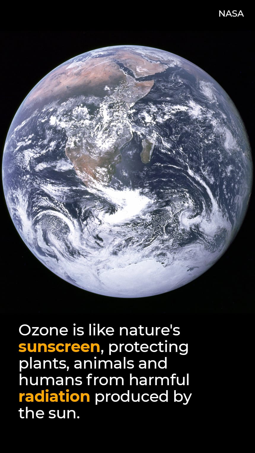TEXT: Ozone is like nature's sunscreen, protecting plants, animals and humans from harmful radiation produced by the sun.   IMAGE: The Earth seen from space.