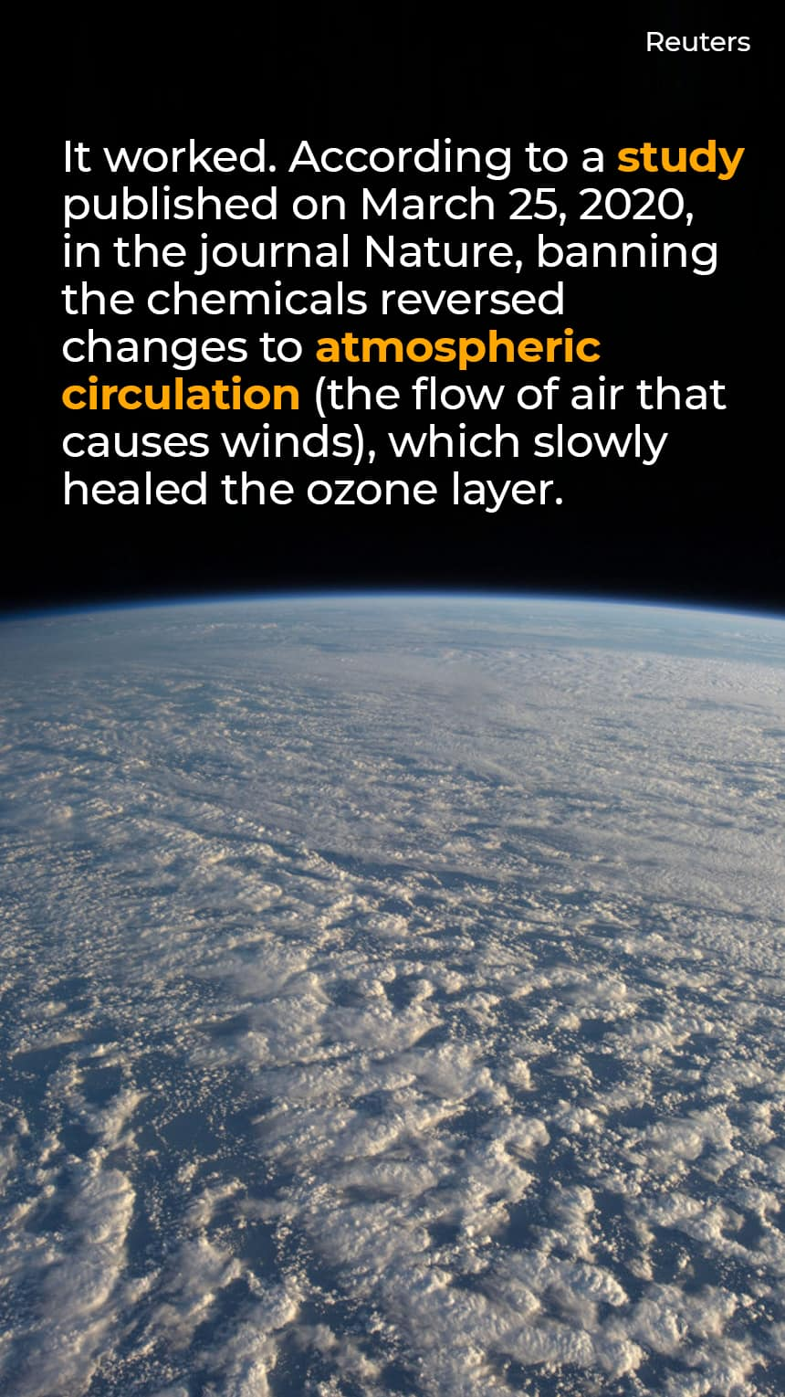 TEXT: It worked. According to a study published on March 25, 2020, in the journal Nature, banning the chemicals reversed changes to atmospheric circulation (the flow of air that causes winds), which slowly healed the ozone layer.   IMAGE: The earth seen from space.