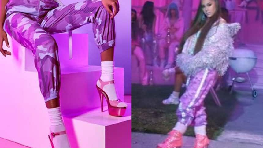 Model wearing pink and purple camouflage pants next to photo of Ariana Grande from 7 Rings video wearing similar pants.