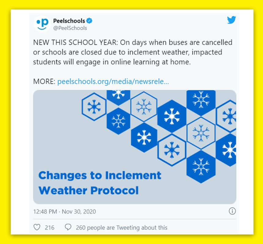 Tweet from Peel Schools says new this school year - on days when buses are cancelled and schools are closed due to inclement weather, impacted students will engage in online learning at home.