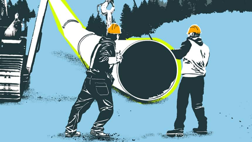 Drawing of two workers handling a big piece of pipe.