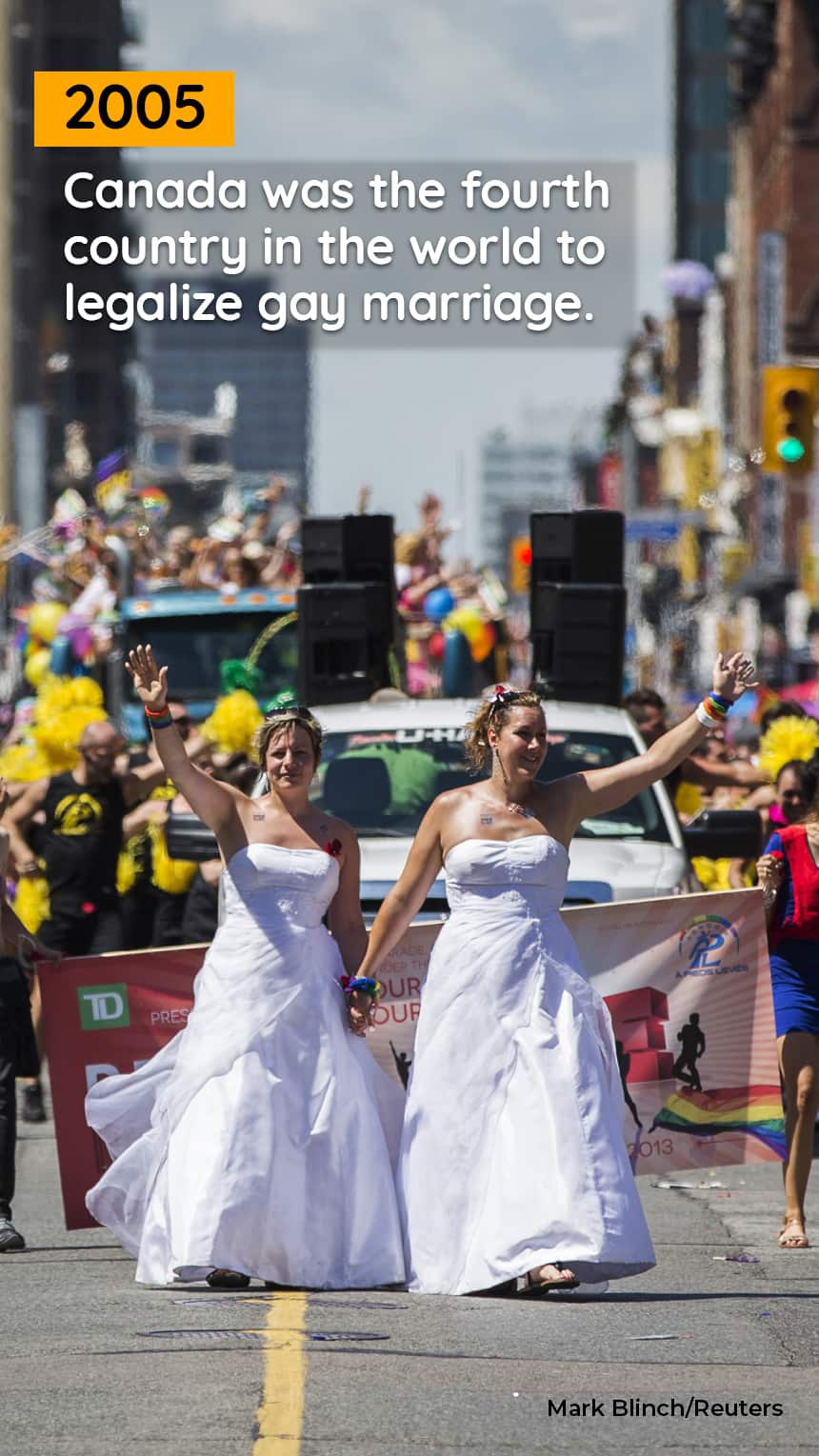 Two women in wedding dresses walk in a parade
