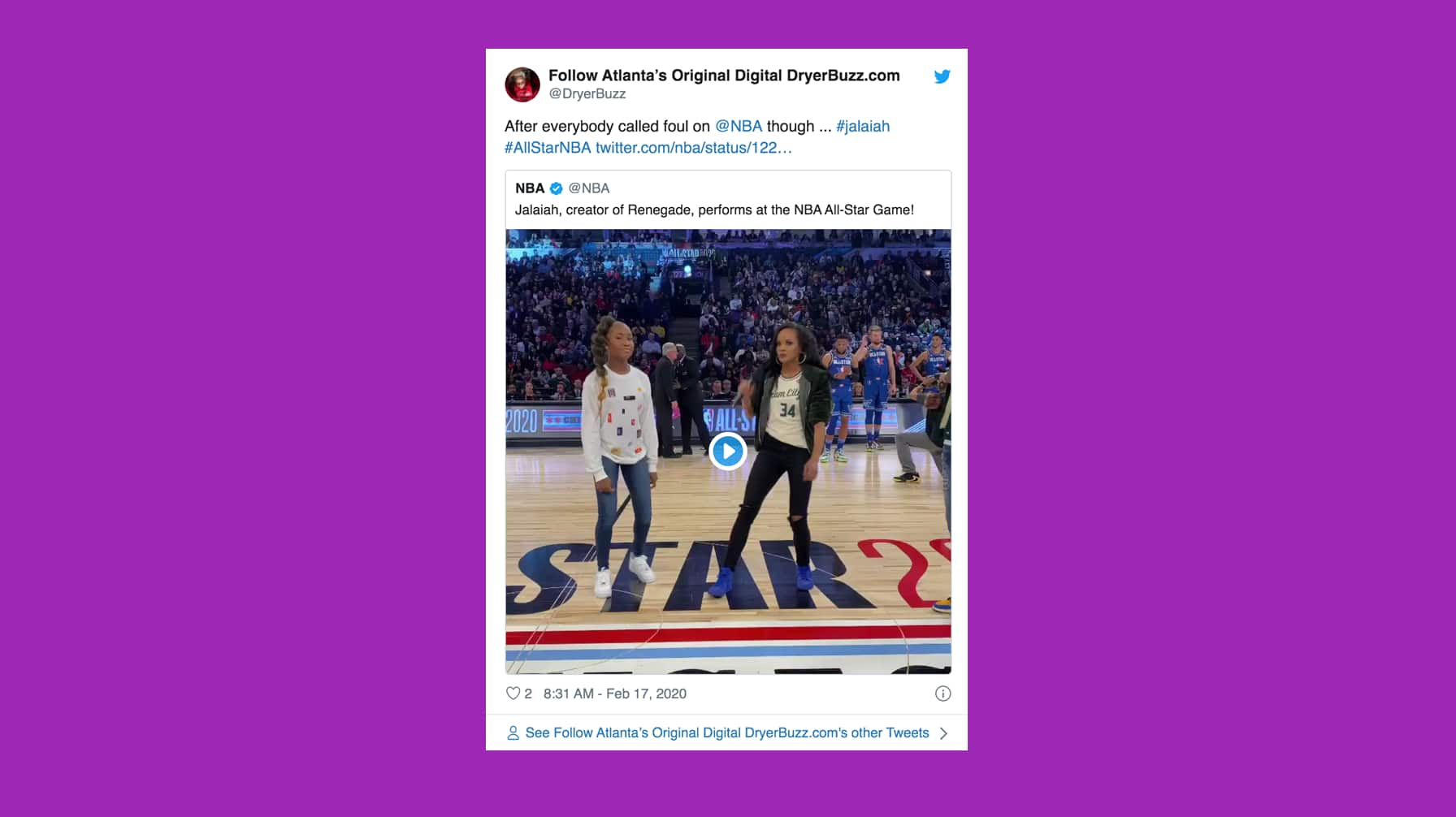 Tweet embeds video of Jalaiah dancing at All-star game, and comments with