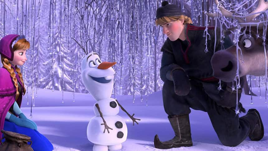 Animated Kristoff character wearing somewhat traditional-looking reindeer herder clothing.