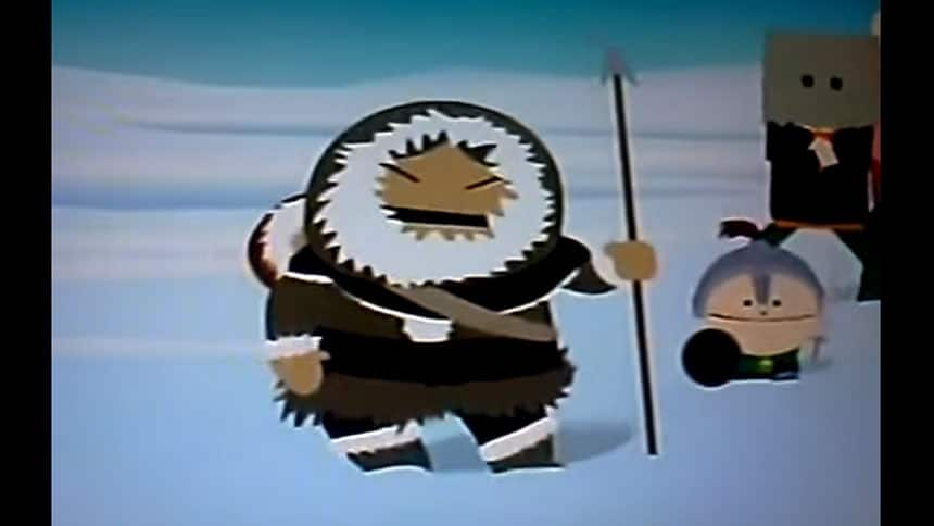 Animated person in something that looks a bit like traditional Inuit clothing.