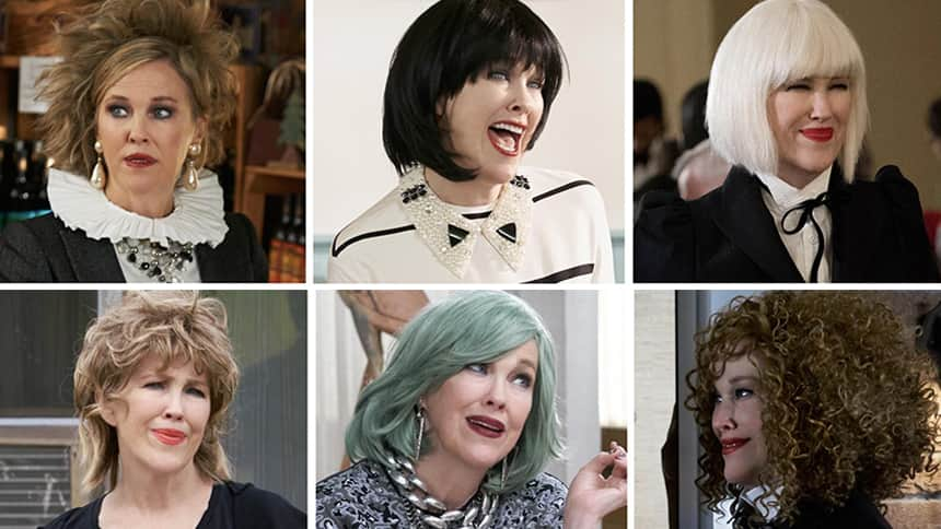 The character Moira Rose pictured in six different wigs.