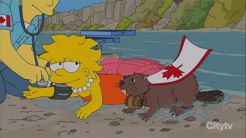 A cartoon of a girl, smiling as she is getting checked out by a paramedic and a beaver with a Canada flag as a cape sits beside her.