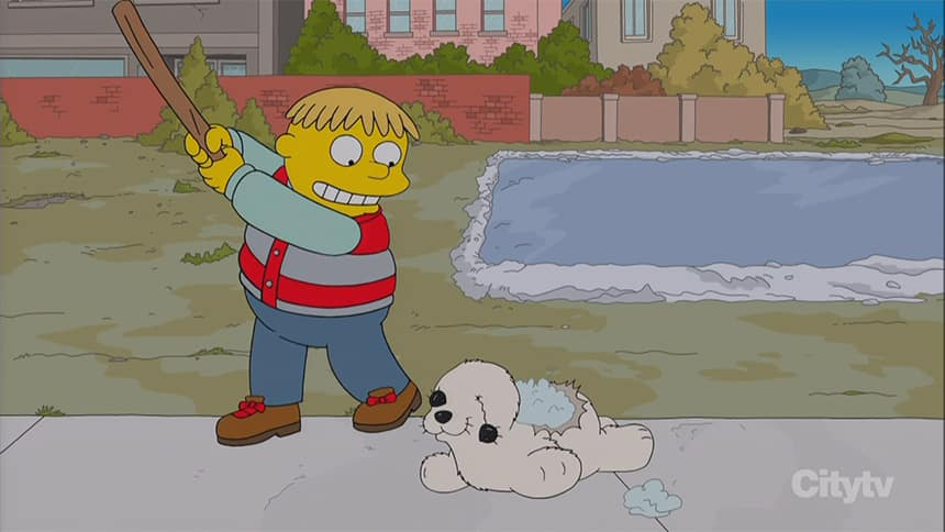 A cartoon of a boy with a club about to hit a stuffed animal that looks like a white seal.