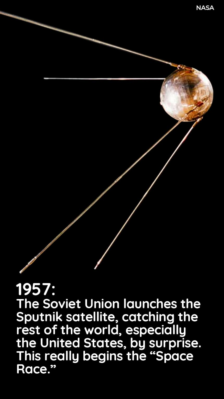 1957: The Soviet Union launches the Sputnik satelitte, catching the United States, especially the rest of the world, by surprise. This really begins the Space Race.