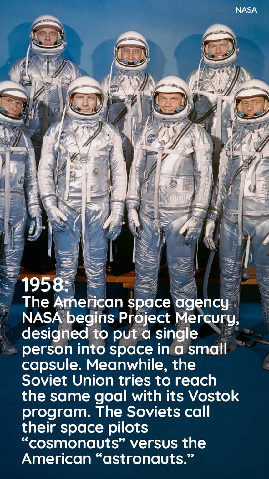 1958: The American space agency NASA begins Project Mercury, designed to put a single person into space in a small capsule. Meanwhile, the Soviet Union tries to reach the same goal with its Vostok program. The Soviets call their space pilots cosmonauts versus the american astronauts.