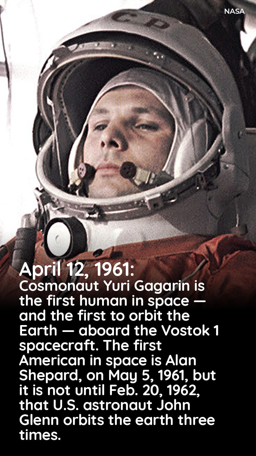 April 12, 1961: Cosmonaut Yuri Gagarin is the first human in space and the first to orbit the earth aboard the Vostok 1 spacecraft . The first American in space is Alan Shepard, on May 5, 1961, but it is not until February 20, 1962, that U..S. astronaut, John Glenn orbits the earth three times.