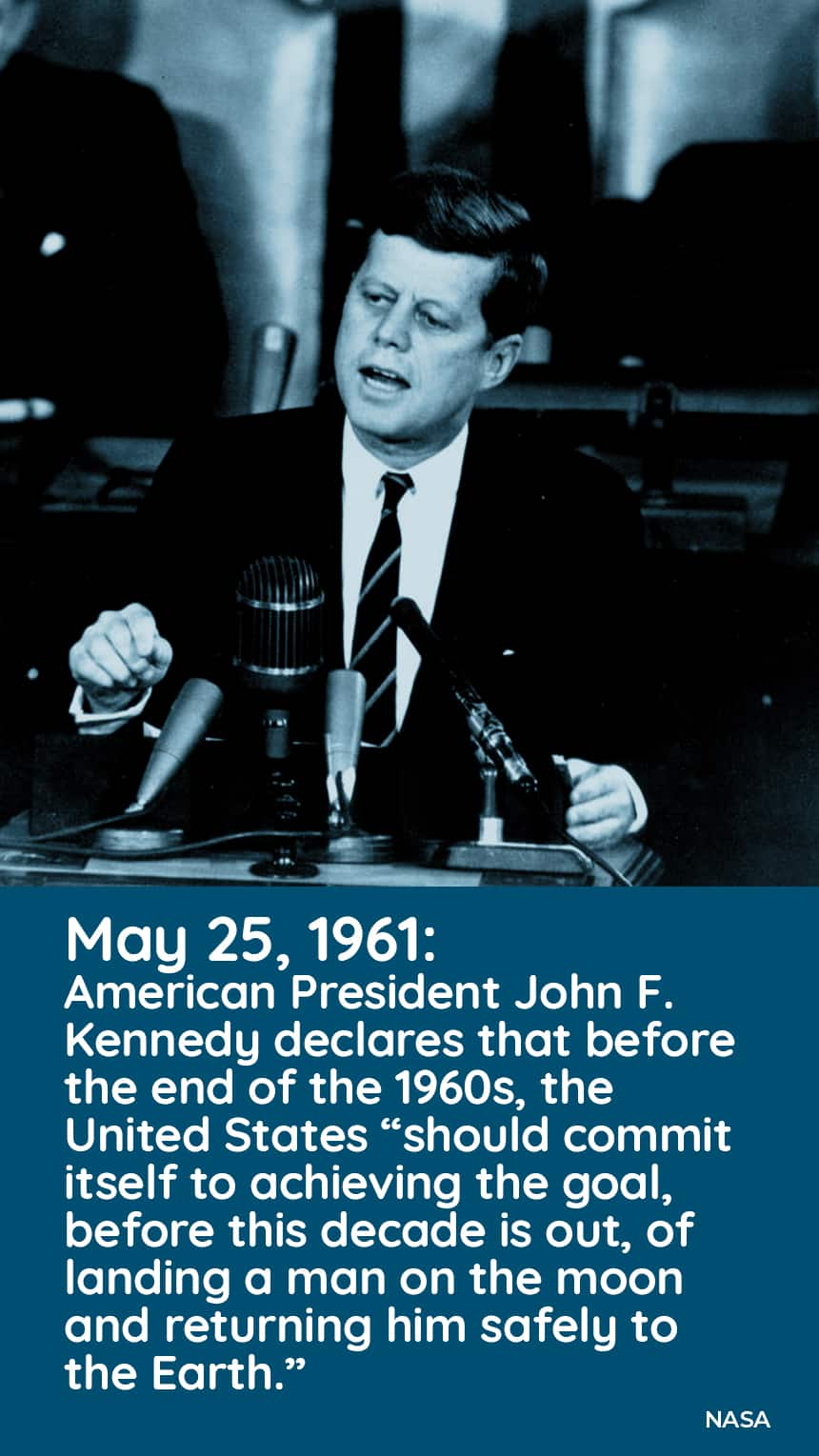 May 25, 1961: American President John F. Kennedy declares that before the end of the 1960's, the United States should commit itself to achieving the goal, before this decade is out,, of landing a man on the moon and returning him safely to the Earth.