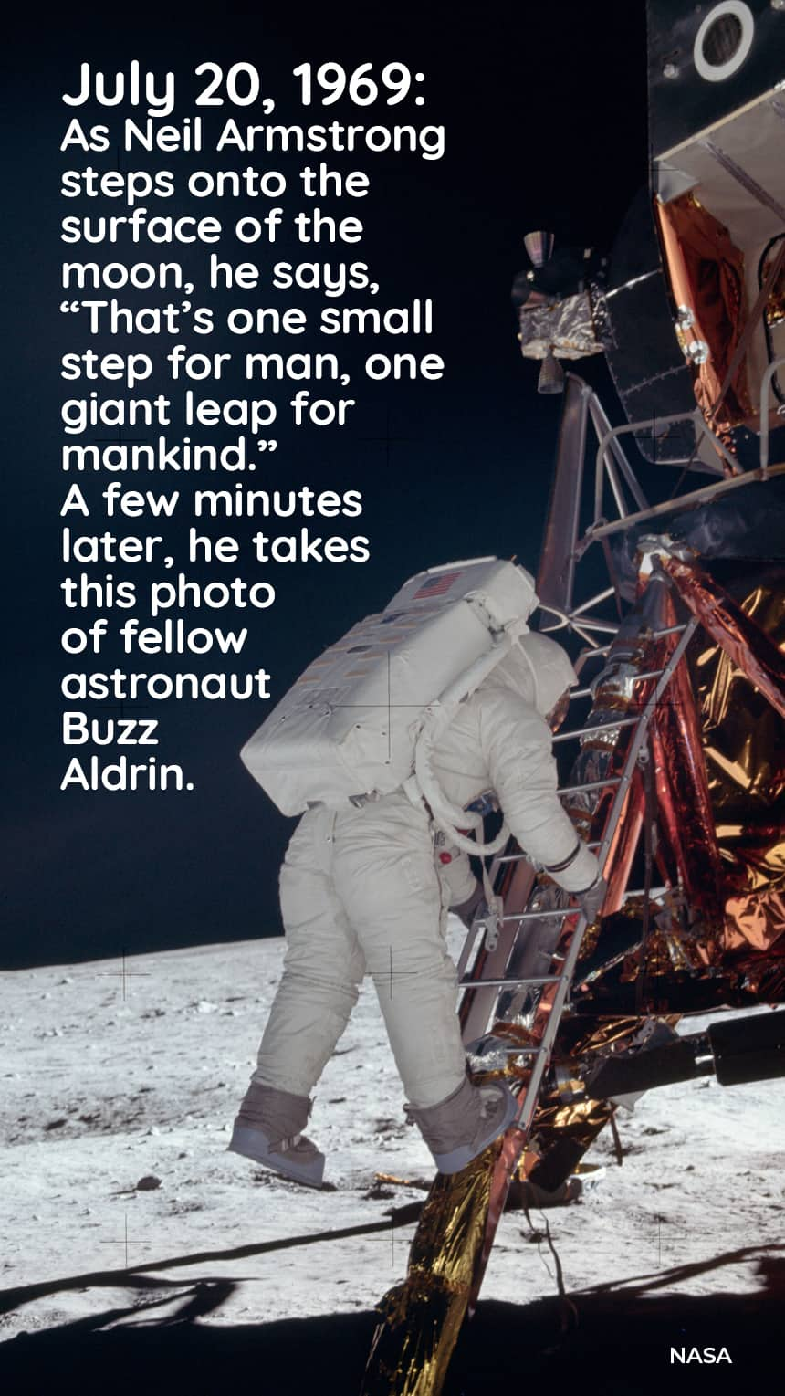 July 20, 1969: As Neil Armstrong steps onto the surface of the moon he says,