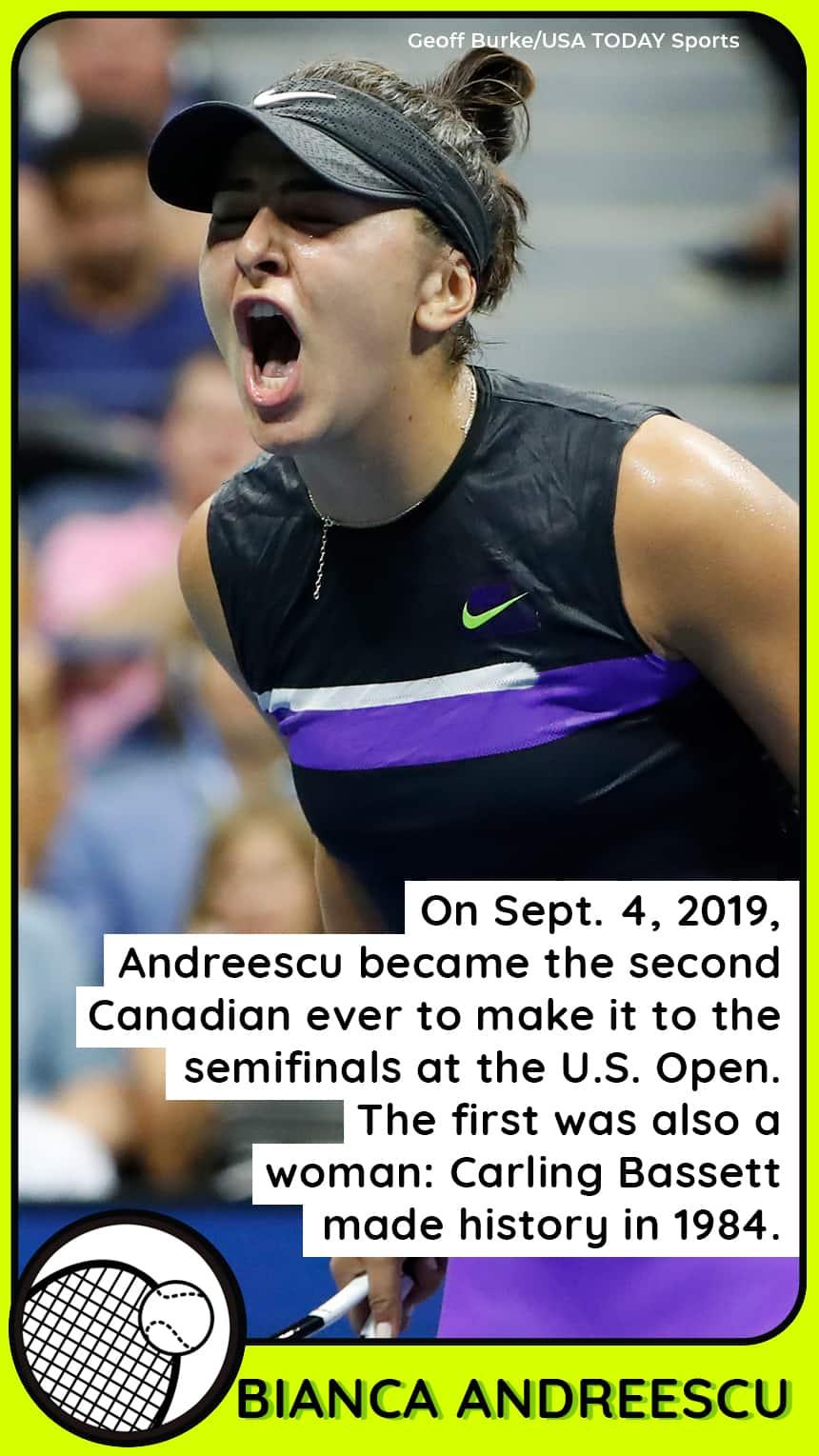 A woman screams holding a tennis racket..