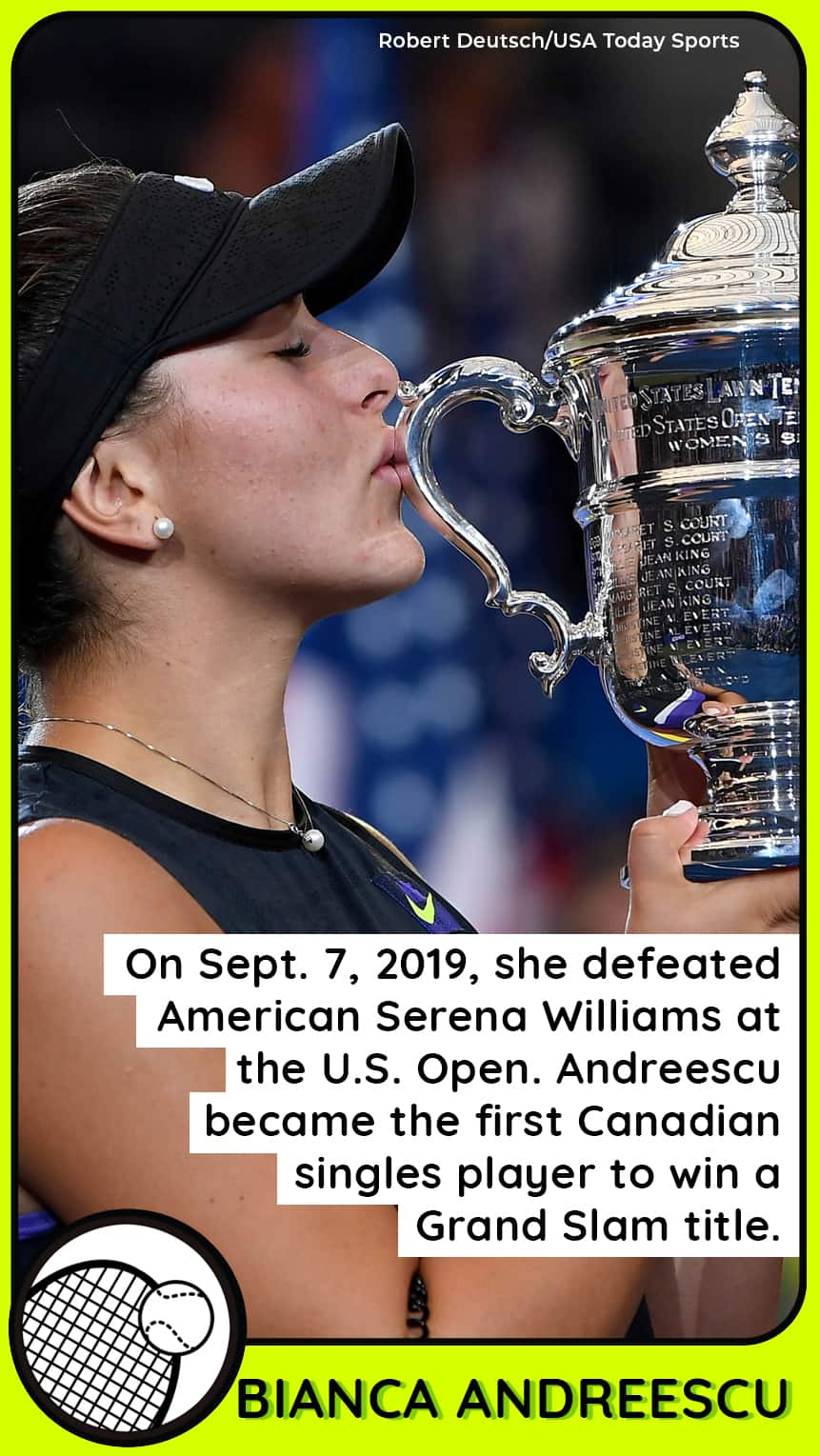TEXT: On Sept. 7, 2019, she defeated American Serena Williams at the U.S. Open. Andreescu became the first Canadian singles player to win a Grand Slam title.  IMAGE: A woman kisses a trophy.