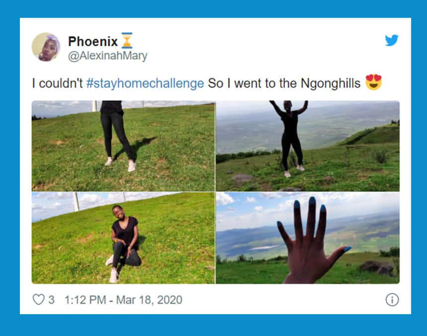 Tweet from Phoenix says I couldn't stay home challenge so I went to the Ngong hills with photos of woman in wide open outdoor space.