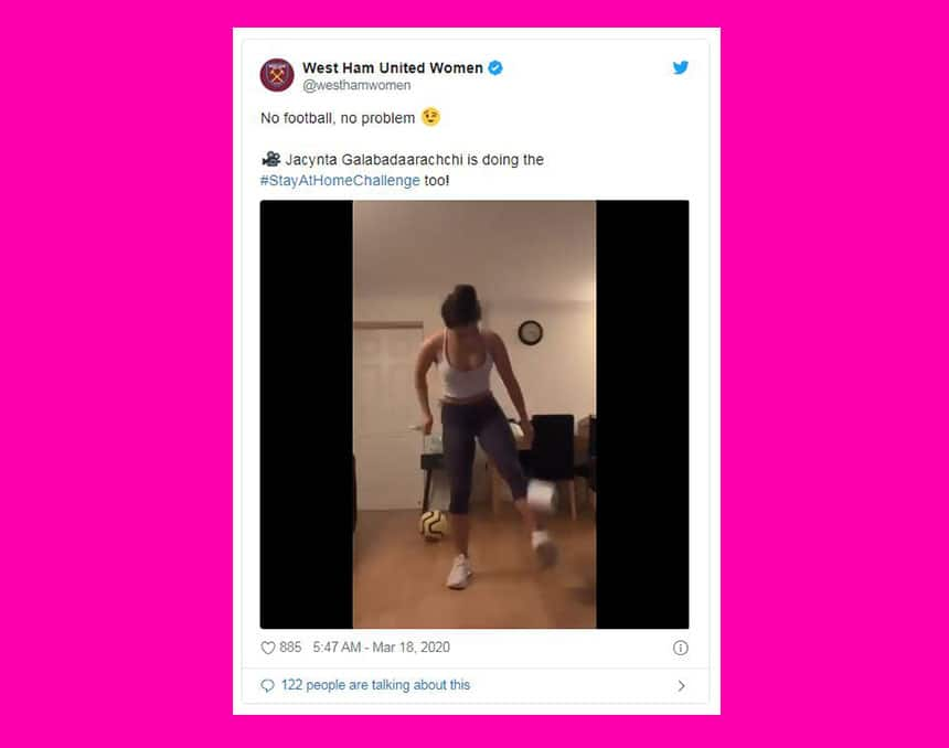 Tweet from Westham United Women says no football no problem and shows woman dribbling a toilet paper roll like a soccer ball.