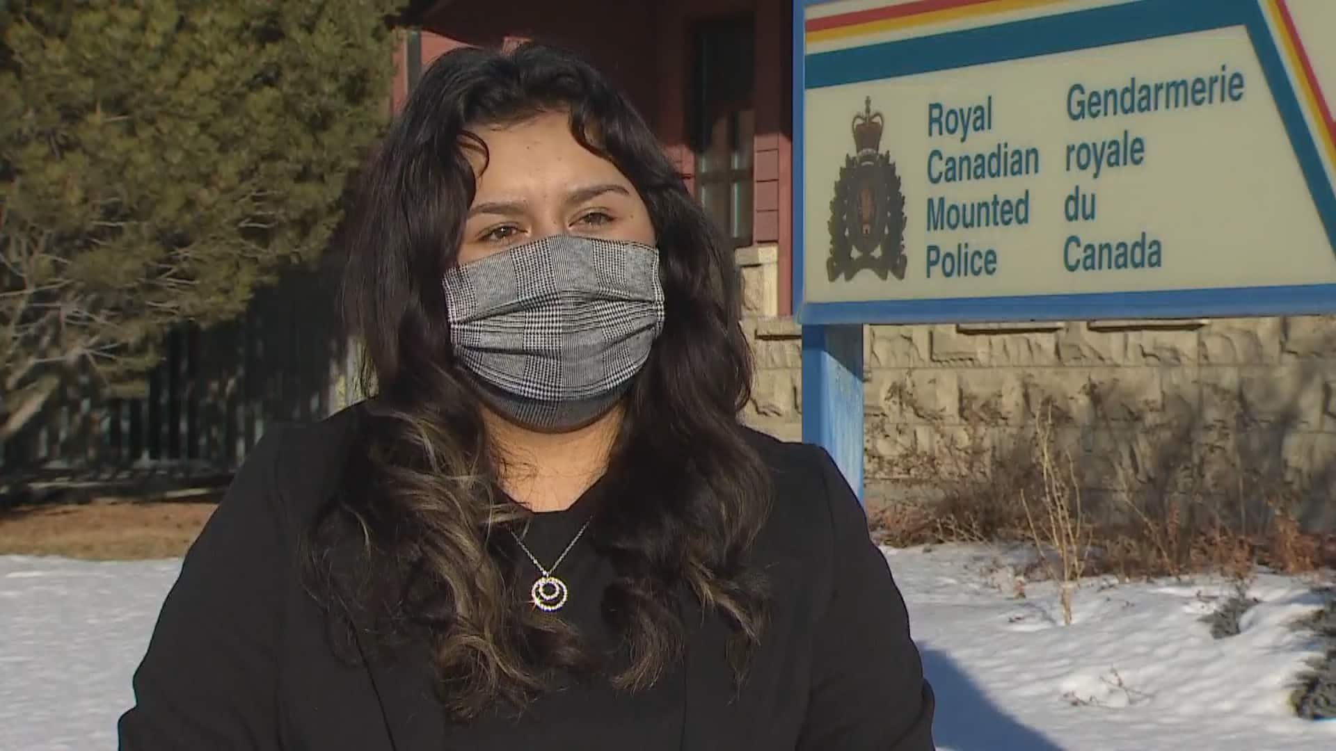 Ariana during an interview with CBC News outside of the RCMP detachment in High River, Alberta.