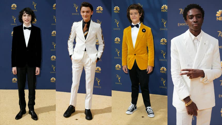 Compilation of four photographs of boys standing on red carpet.