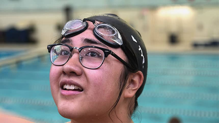 Chiara in a swimming pool during practice.