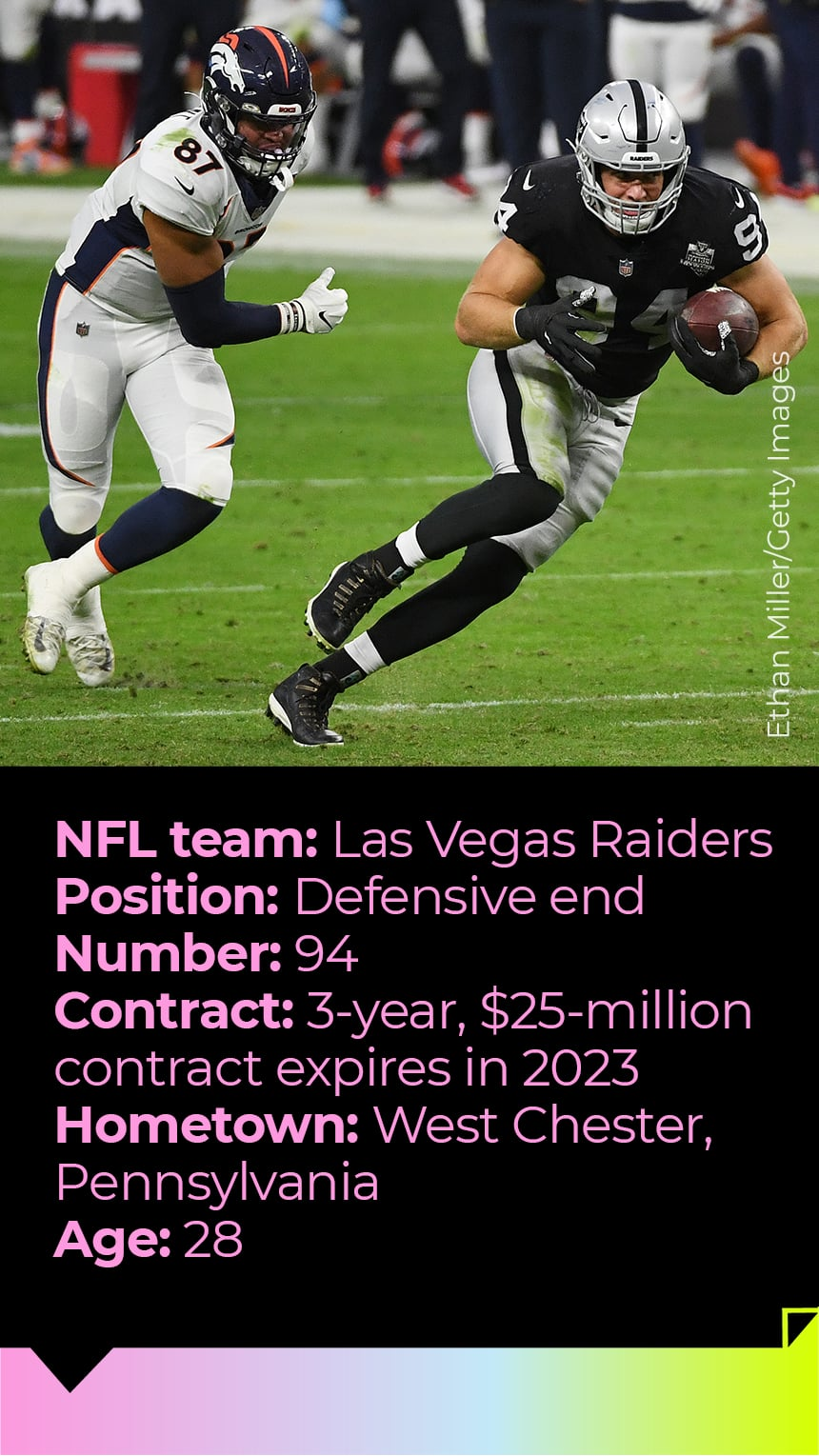 NFL team: Las Vegas Raiders Position: Defensive end Number: 94 Contract: 3-year, $25-million contract expires in 2023 Hometown: West Chester, Pennsylvania Age: 28