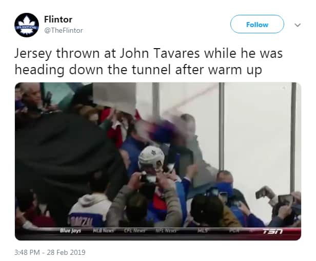 Tweet from Flintor says Jersey thrown at John Tavares while he was heading down the tunnel after warm up.
