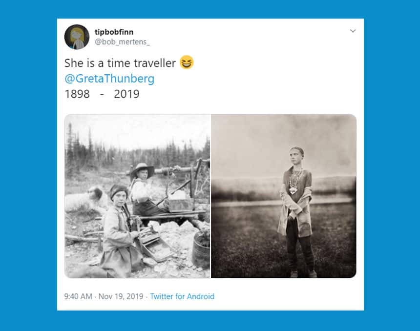 Tweet from tipbobfinn says She is a time traveller, followed by an LOL emoji.