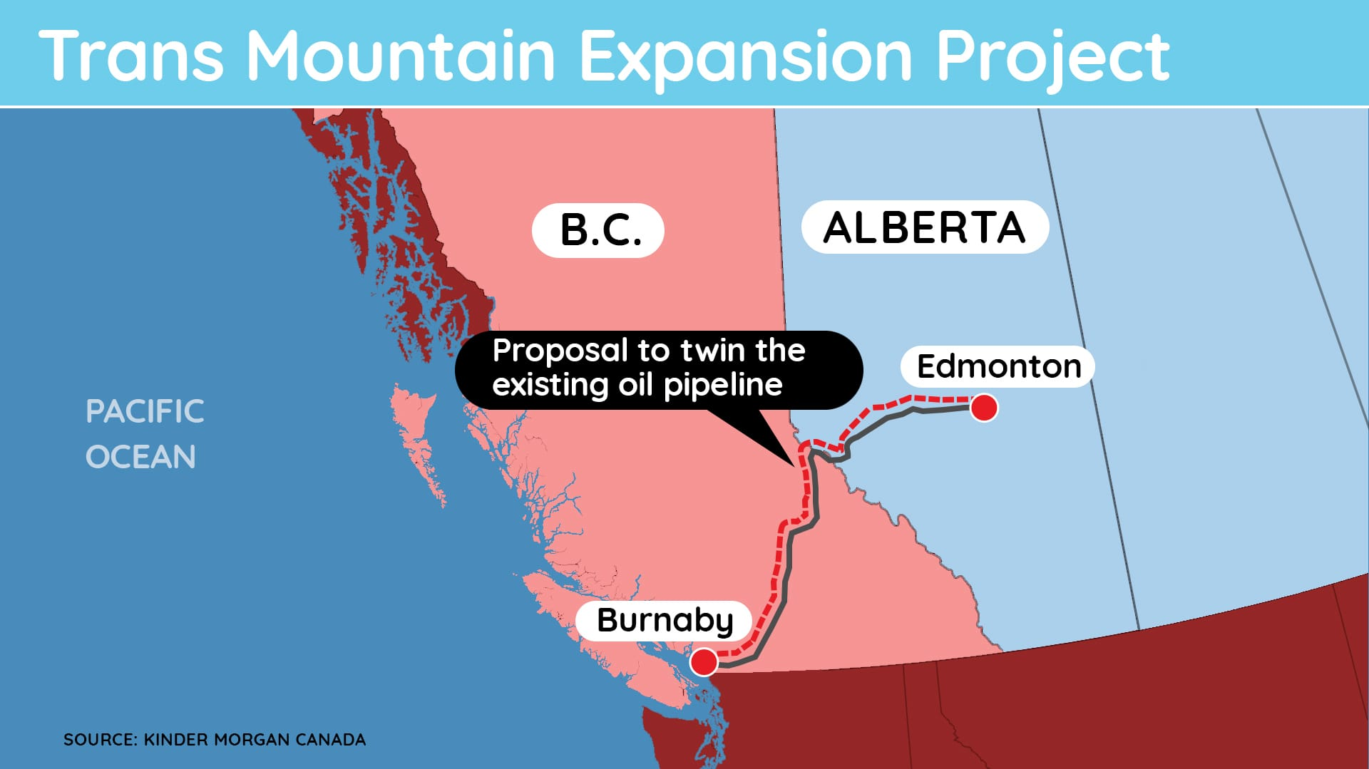 Map shows proposed route for pipeline from Alberta to the B.C. coast.