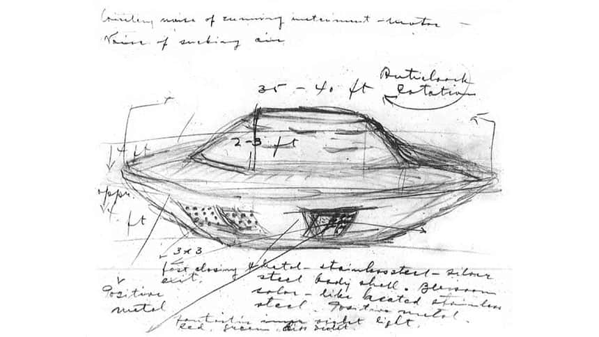 Pencil drawing shows what looks like a UFO with lots of labels and other handwritten notes.