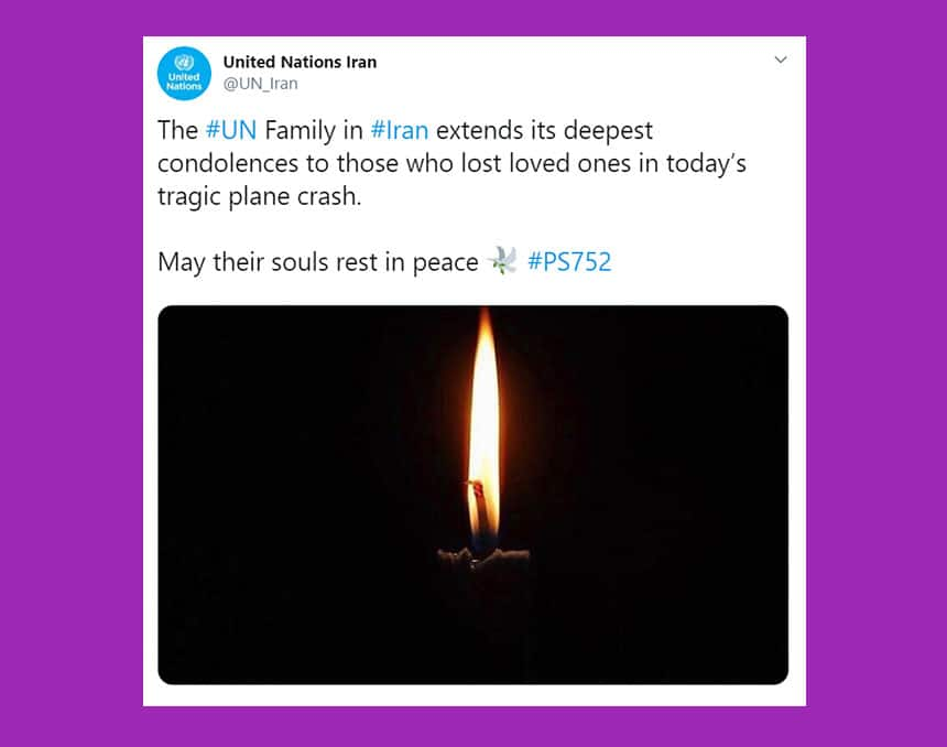 Tweet from United Nations Iran shows image of candle with this message: The UN Family in Iran extends its deepest condolences to those who lost loved ones in today's tragic plane crash.