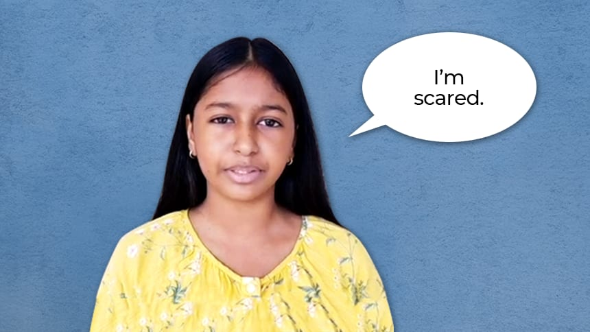 Girl with speech bubble saying: I'm scared