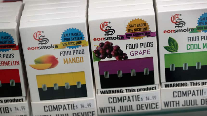 Stacks of flavoured pods in mango, grape and mint flavours.