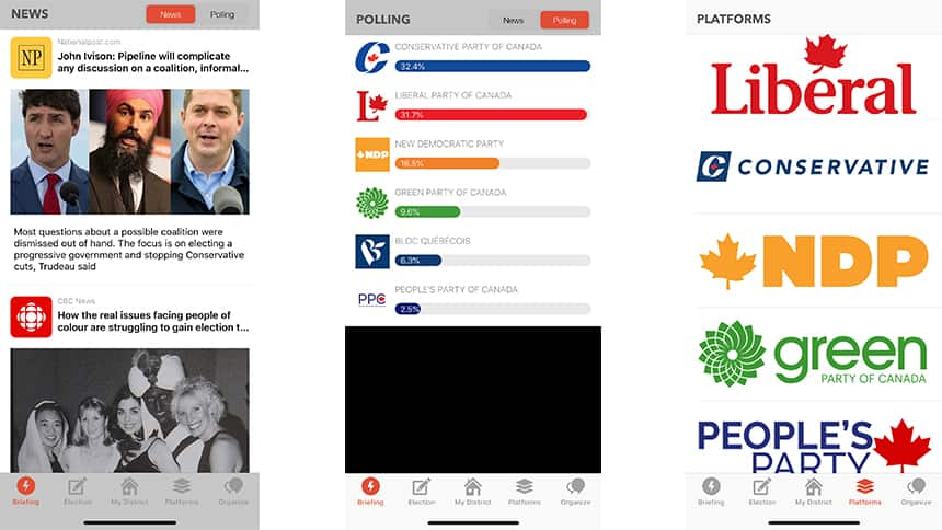 3 screen grabs of an app, including news articles about elections, a poll tracker and a list of the federal parties