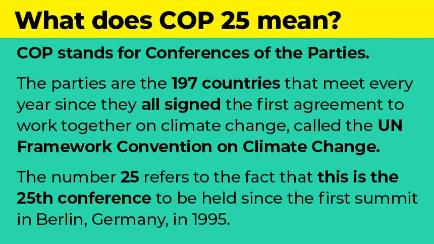 What does COP 25 mean? COP stands for Conferences of the Parties. The parties are the 197 countries that meet every year since they all signed the first agreement to work together on climate change, called the UN Framework Convention on Climate Change. The number 25 refers to the fact that this is the 25th conference to be held since the first summit in Berlin, Germany, in 1995.