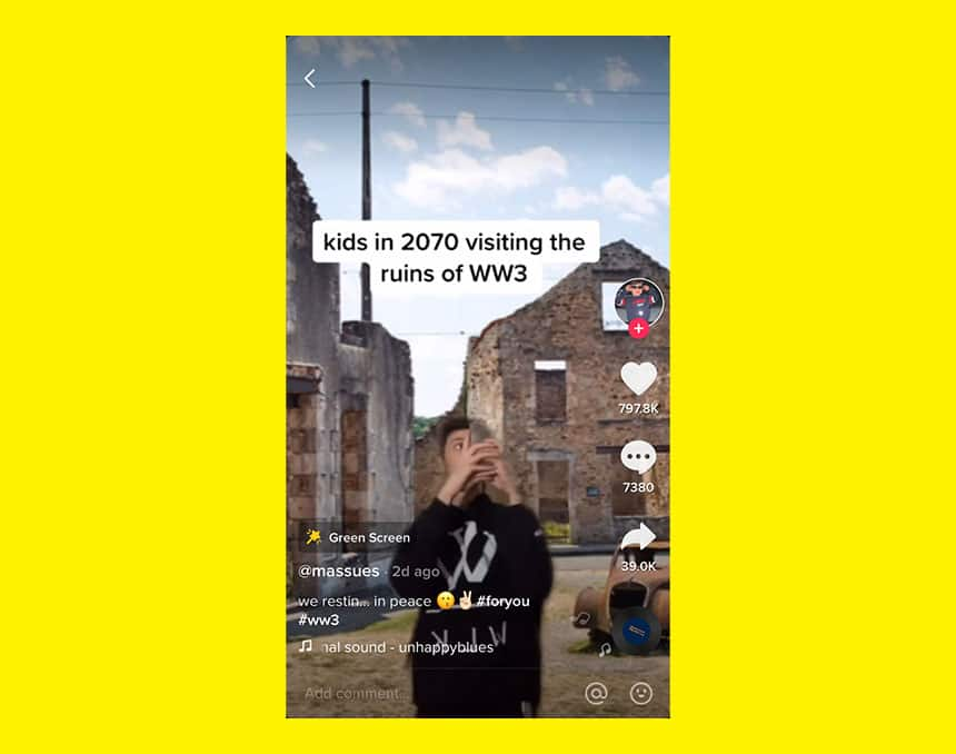 TikTok post from user @massues shows boy taking photos of ruins with caption