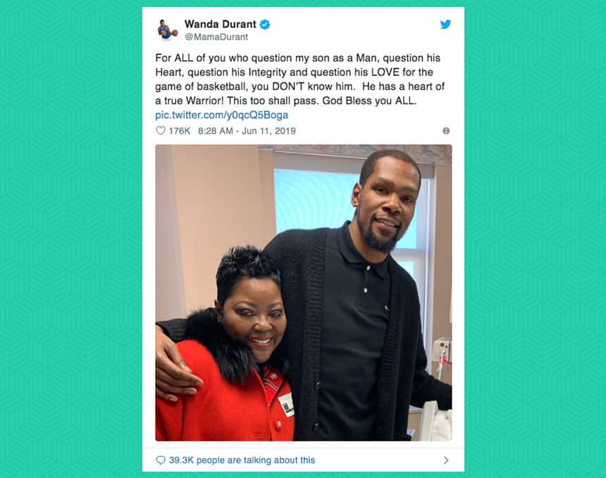 Kevin Durant's mother Wanda Durant tweeted