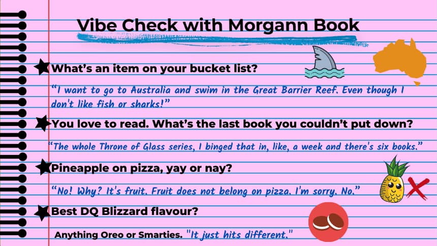 """What's an item on your bucket list?  """"I want to go to Australia and swim in the Great Barrier Reef. Even though I don't like fish or sharks!""""  You love to read. What's the last book you couldn't put down? """"The whole Throne of Glass series, I binged that in, like, a week and there's six books.""""   Pineapple on pizza, yay or nay?  """"No! Why? It's fruit. Fruit does not belong on pizza. I'm sorry. No.""""  Best DQ Blizzard flavour?  Anything Oreo or Smarties. """"It just hits different."""""""