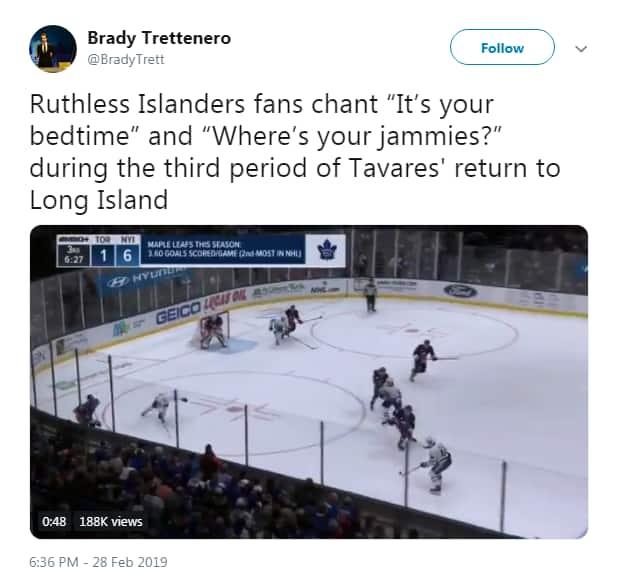 Tweet from Brady Trettenero says Ruthless Islanders fans chant