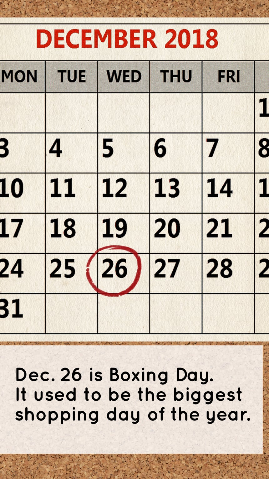 Dec. 26 is Boxing Day. It used to be the biggest shopping day of the year.