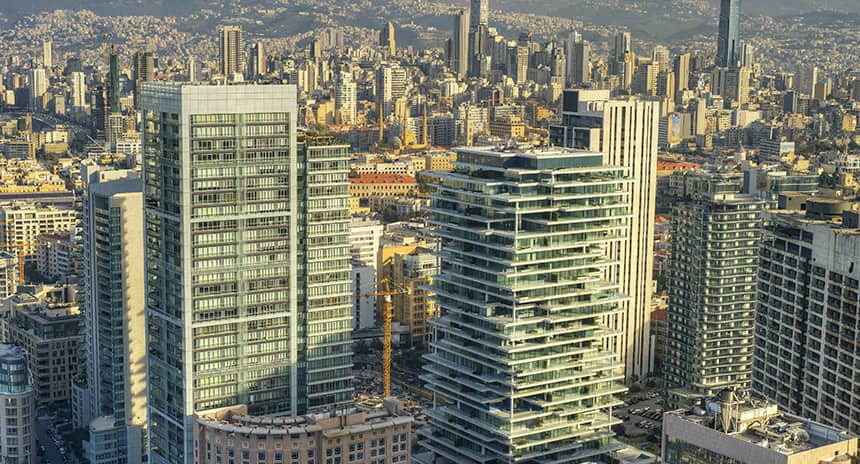 The City of Beirut, including houses and skyscrapers, pictured before the explosion.