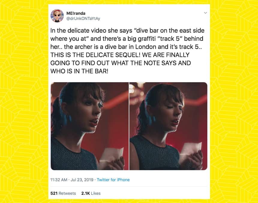 Twitter user drunkontaytay tweeted In the delicate video she says dive bar on the east side where you at and there's a big graffiti track 5 behind her.. The archer is a dive bar in London and it's track 5… This is the delicate sequel. We are finally going to find out what the note says and who is in the bar!