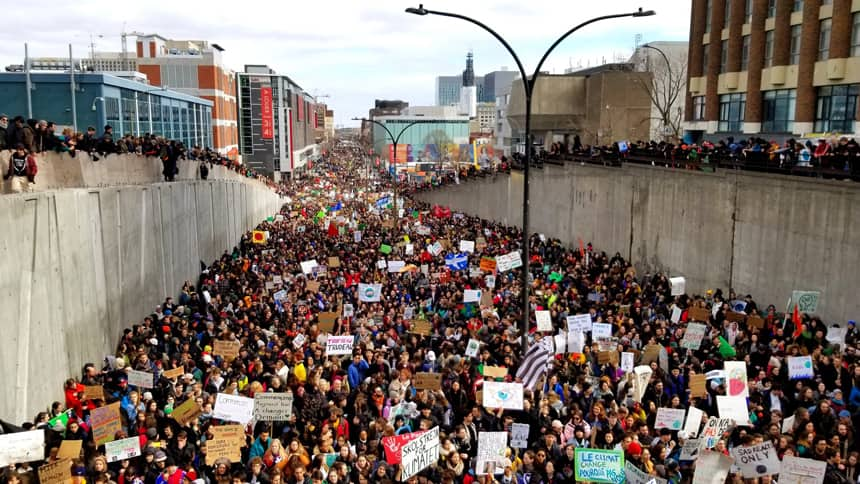 An estimated 150,000 climate strikers demonstrated in Montreal on March 15