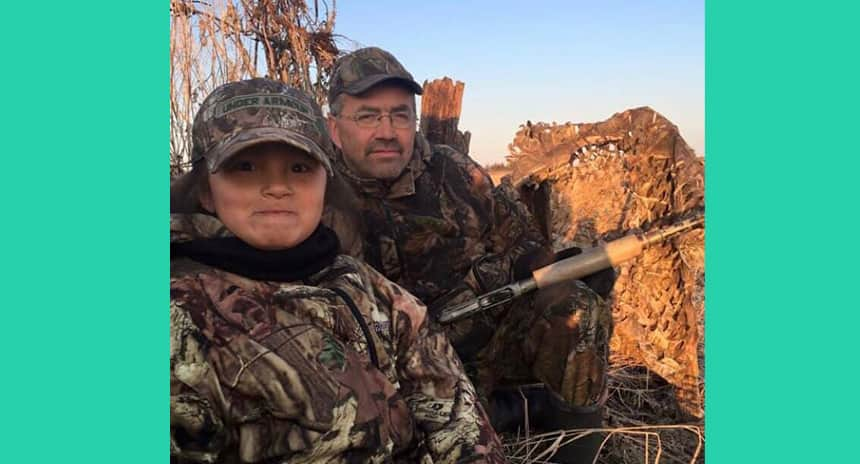 Trinity Bosum hunting with grandfather, Danny Thivierge.