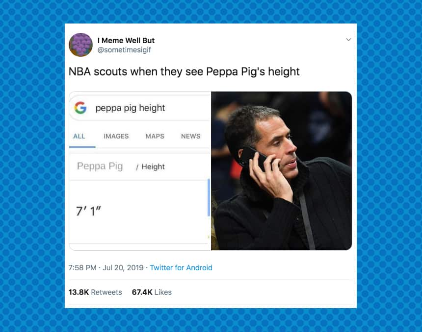 Twitter user sometimesgif tweeted NBA scouts when they see Peppa Pig's height and posted a photo of an agent on a cellphone